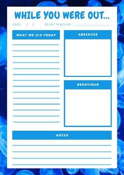 TRT Relief Teacher Feedback Forms - Blue Pack