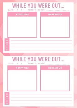 TRT Relief Teacher Feedback Forms - Pink Pack