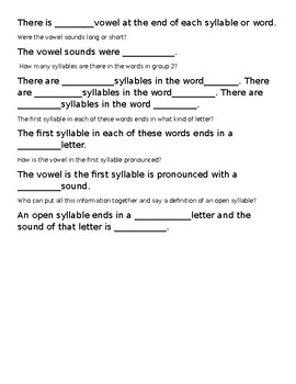 TRTW scripted open syllable lesson plan