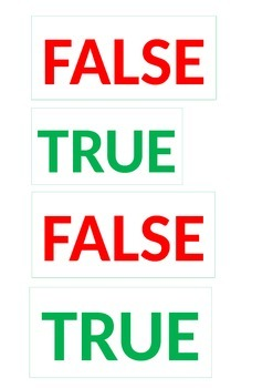 TRUE AND FALSE CARDS