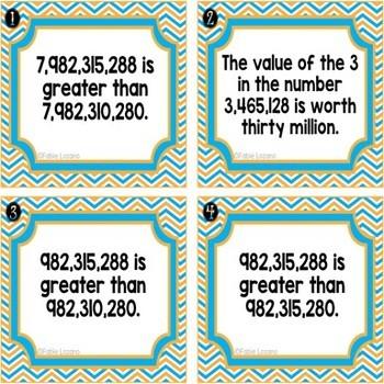 TRUE/FALSE Place Value to Billions