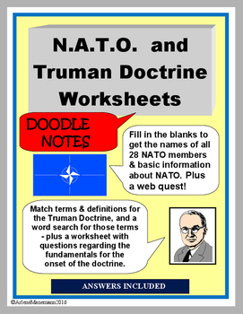 truman doctrine n a t o doodle notes activities and worksheets