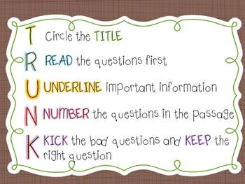 TRUNK-test taking strategy