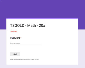 TS GOLD Math Objective 20 A Google Form