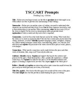 TSCCART Reading Log Prompts Handout