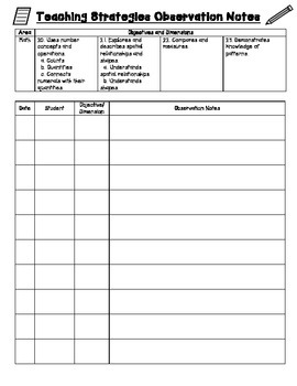 Tsg Observation Recording Sheet For Multiple Students