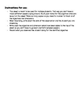 TSG Observation Recording Sheet for Multiple Students: Social Studies