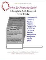 Who Is Frances Rain Novel Study Guide
