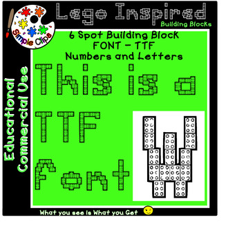 TTF Font - Building Block 6 Spot - Lego Inspired - Commercial Use {Simple Clips}
