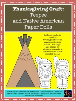 Thanksgiving Craft Bundle for Kinder: Teepee, Cabin, Mayflower, and Paper Dolls