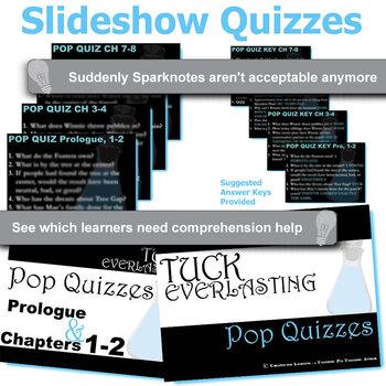 TUCK EVERLASTING 12 Pop Quizzes