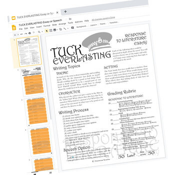 TUCK EVERLASTING Essay Prompts and Speech (Created for Digital)