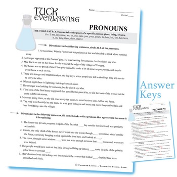 TUCK EVERLASTING Grammar Bundle Pronouns Subjective Objective Possessive