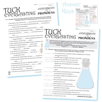 TUCK EVERLASTING Grammar Pronouns & Antecedents