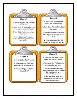 TUCK EVERLASTING Natalie Babbitt - Discussion Cards