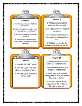 TUCK EVERLASTING Natalie Babbitt - Discussion Cards