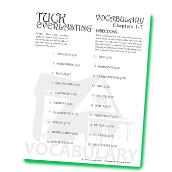 TUCK EVERLASTING Vocabulary List and Quiz (chapters 1-7)