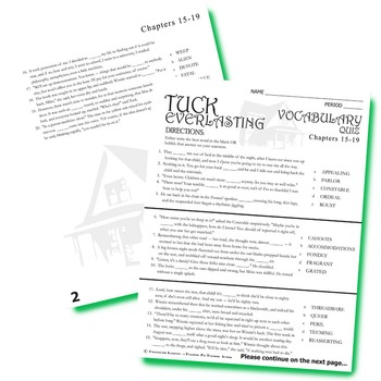 TUCK EVERLASTING Vocabulary List and Quiz (chapters 15-19)