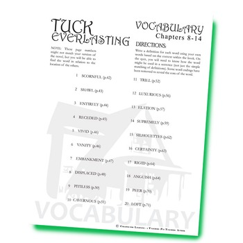TUCK EVERLASTING Vocabulary List and Quiz (chapters 8-14)