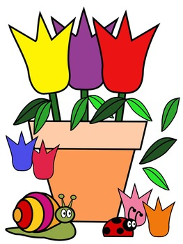 TULIP CLIP ART * COLOR AND BLACK AND WHITE