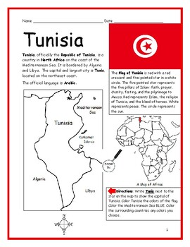 TUNISIA - Printable handout with map and flag