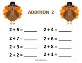 THANKSGIVING TURKEY ADDITION WORKSHEETS  B (12 Worksheets)