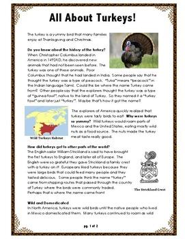 Turkey Activity //  ALL ABOUT TURKEYS // Thanksgiving / PowerPoint / Reading Fun