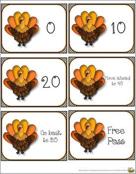 TURKEY COUNT BY 10S MATH CENTER CARDS