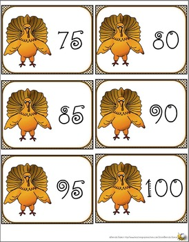 TURKEY COUNT BY FIVES MATH CENTER AND FLASH CARDS
