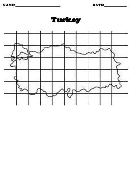 TURKEY Coordinate Grid Map Blank