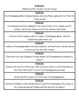 TURKEY TROUBLE Problem & Solution - Thanksgiving Writing Prompt