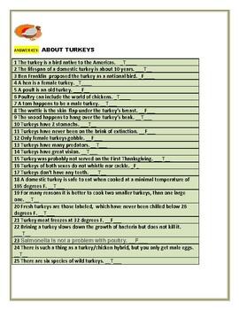 TURKEYS: A T/F QUIZ WITH INTERESTING FACTS! GRS. 5-12, STAFF