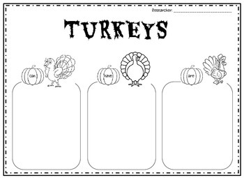 TURKEYS Can, Have, Are
