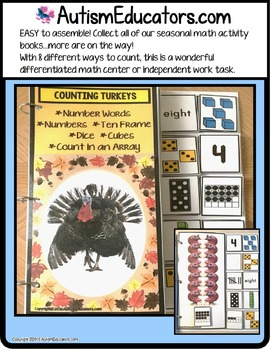 TURKEYS Counting Up To 20 with Data and IEP Goals for Special Education/Autism