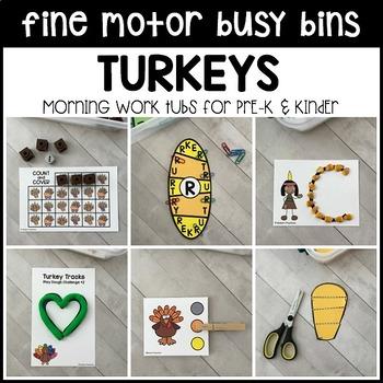 TURKEYS Fine Motor Busy Bins (Thanksgiving morning work tubs) - Preschool, Pre-K