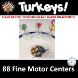 Fine Motor: TURKEYS Themed! Skills Center Time Kit for Core Curriculum!