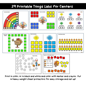 Fine Motor: TURKEYS Themed! Skills Center Time Kit for Core Curriculum!