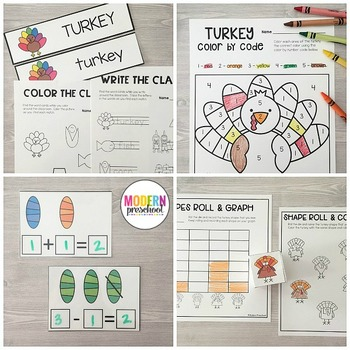 TURKEYS Literacy & Match Centers (Preschool, PreK, Kindergarten)