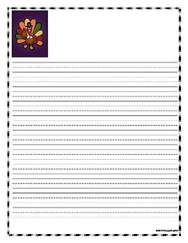 TURKEYS Writing Paper - Lined Paper - Turkeys Theme