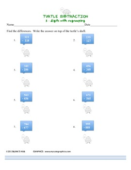 TURTLE SUBTRACTION of 3-digits with regrouping