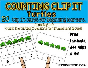 TURTLES Counting to 10 Clip It {A Beginning Work Task)