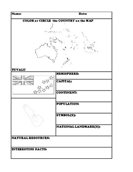 TUVALU COUNTRY RESEARCH WORKSHEET