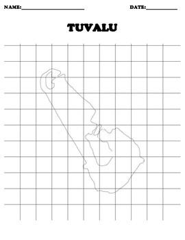TUVALU Coordinate Grid Map Blank