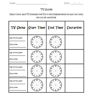 tv guide elapsed time activity by amateur teacher tpt. Black Bedroom Furniture Sets. Home Design Ideas