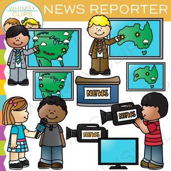 Tv news. Reporter clip art