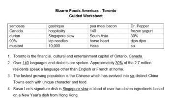TV Show Guide: Bizarre Foods Toronto