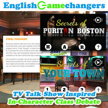 TV Talk Show Inspired In-Character Novel / Drama Study Debate Activity