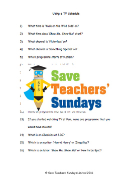 TV schedule lesson plans, worksheets and more