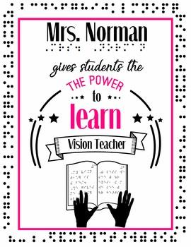 TVI Personalized Classroom Poster Vision Teacher