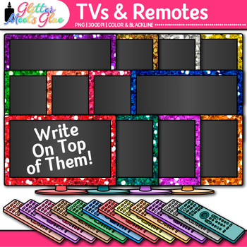 TV & Remote Clip Art {Rainbow Glitter Televisions for Classroom Technology Use}